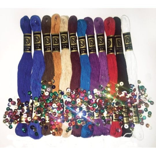 Stickgarn Packung mit Perlen und Pailletten für Zenbroidery Projekte l über Zur Lila Pampelmuse
