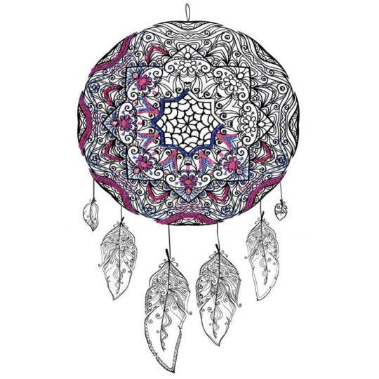 Traumfänger mit Mandala und Federn sticken l via Zur Lila Pampelmuse