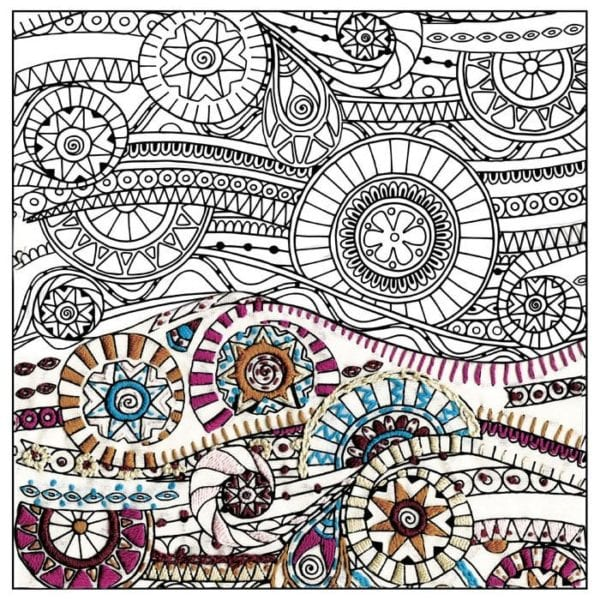 Wellen, Kreise und Muscheln sticken statt ausmalen; ähnlich wie ein Malbuch für Erwachsene l via Zur Lila Pampelmuse