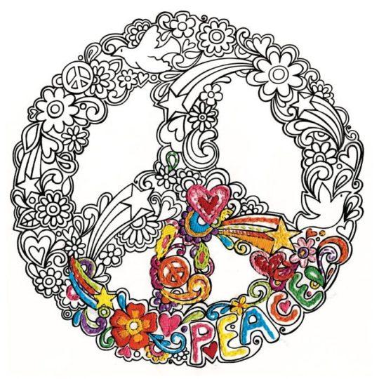 Peace Zeichen mit Herzen, Sternen, Tauben, Blumen sticken bzw. aussticken l via Zur Lila Pampelmuse