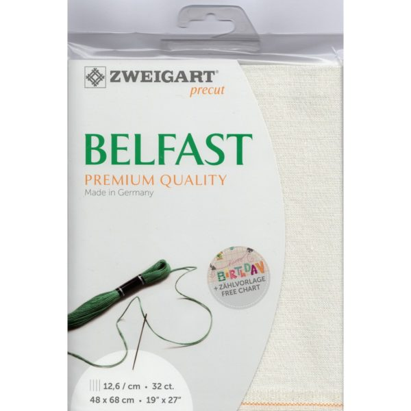 Belfast Leinen zum Sticken in Weiß mit Glitzer Fäden l über Zur Lila Pampelmuse