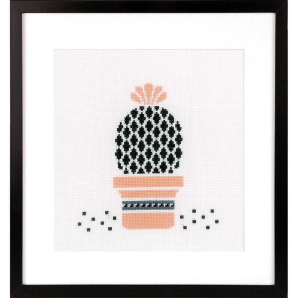 stickpackung mit kaktus und bl te und topf in lachs f r. Black Bedroom Furniture Sets. Home Design Ideas