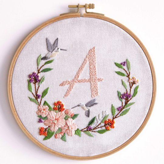 Blumenkranz mit Alphabet sticken bzw. individualisieren | Stickpackung