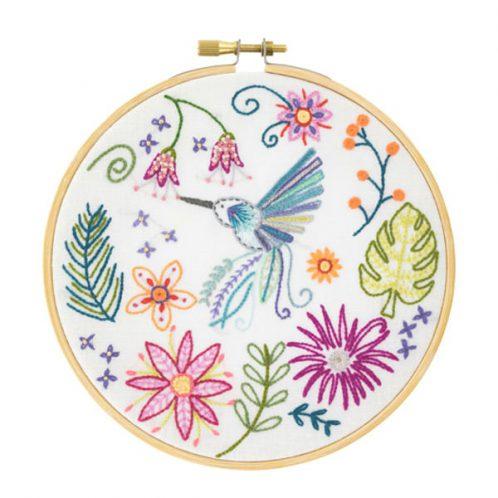 Kolibri mit Blumen sticken | Stick-Set