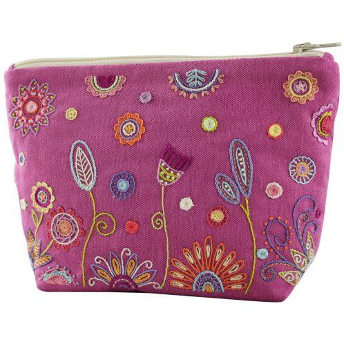 Tasche in Himbeer-Pink mit Blumen besticken | Stick Set
