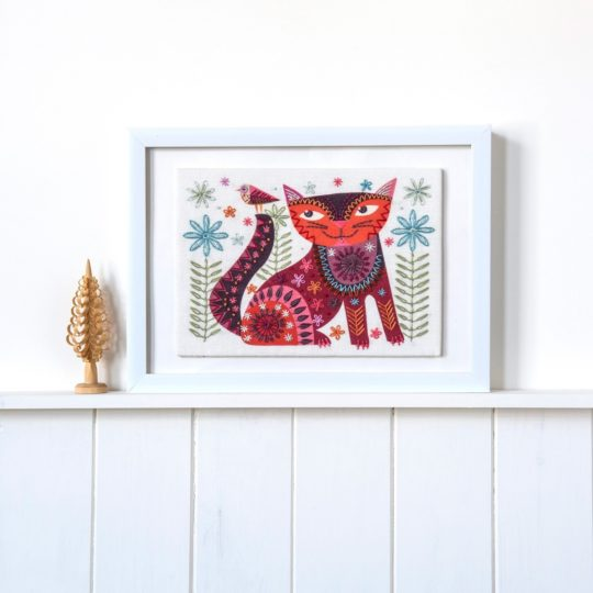 Stickpackung Katze im Folklore Stil | über Zur Lila Pampelmuse