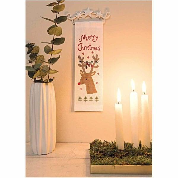 Stickpackung süßes Rentier Merry Christmas Kreuzstich | über Zur Lila Pampelmuse
