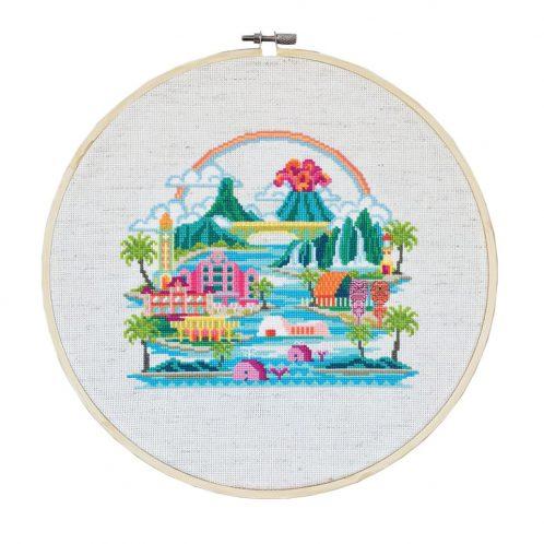 Stickmuster Hawaii USA modern Kreuzstich | über Zur Lila Pampelmuse