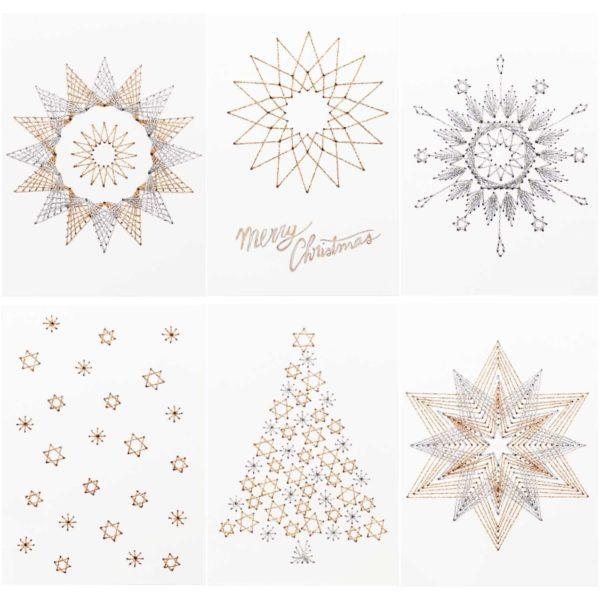 Moderne Karten zu Weihnachten besticken | über Zur Lila Pampelmuse