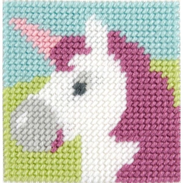 kinder sticken ein rosa einhorn  stickset für kinder ab 8