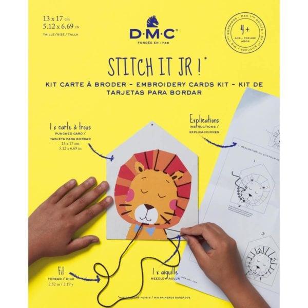 stickkarte mit coolem löwen für kinder l sticken lernen kinder