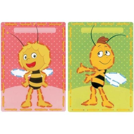 Sticken mit Kindern: Vorgestanzte Karten mit Biene Maja und Willi | über Zur Lila Pampelmuse