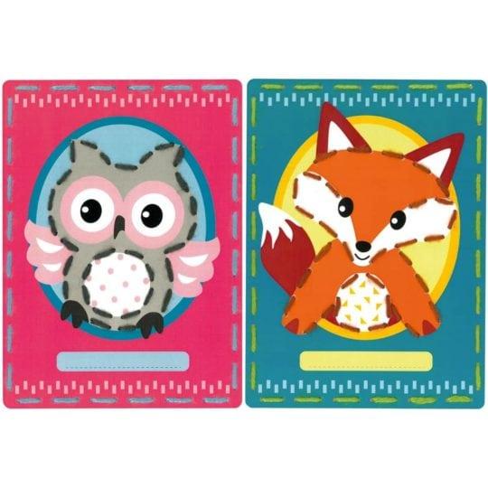 Sticken mit Kindern: Vorgestanzte Karten mit Fuchs und Eule | über Zur Lila Pampelmuse