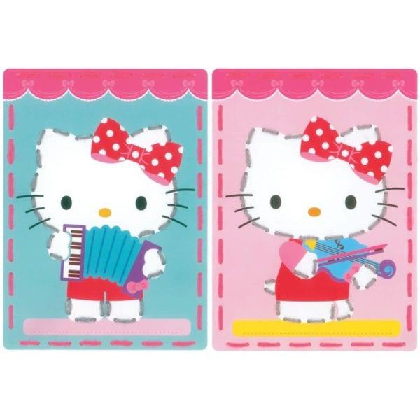 Sticken mit Kindern: Vorgestanzte Karten mit Hello Kitty | über Zur Lila Pampelmuse