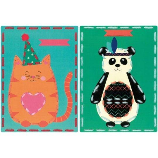 Sticken mit Kindern: Vorgestanzte Karten mit Panda und Katze | über Zur Lila Pampelmuse