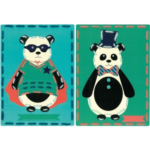 Sticken mit Kindern: Vorgestanzte Karten mit Panda Bären   über Zur Lila Pampelmuse