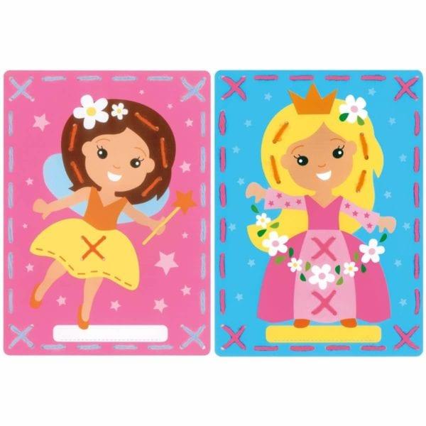 Sticken mit Kindern: Vorgestanzte Karten mit Prinzessin und Fee | über Zur Lila Pampelmuse