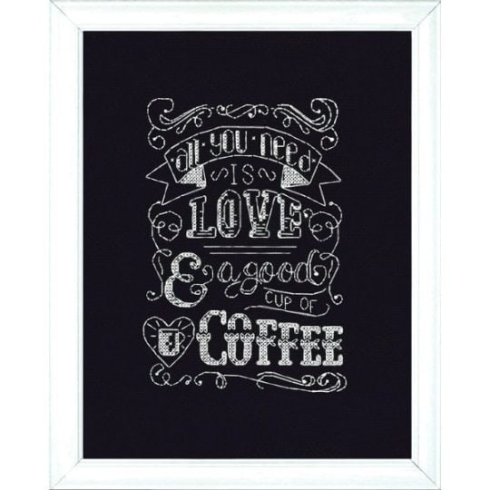 "Spruch ""All you need is love and a good cup of coffee"" im Kreuzstich sticken 