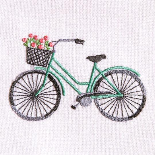 Stickset für ein mintgrünes Retro-Fahrrad mit Blumen | über Zur Lila Pampelmuse