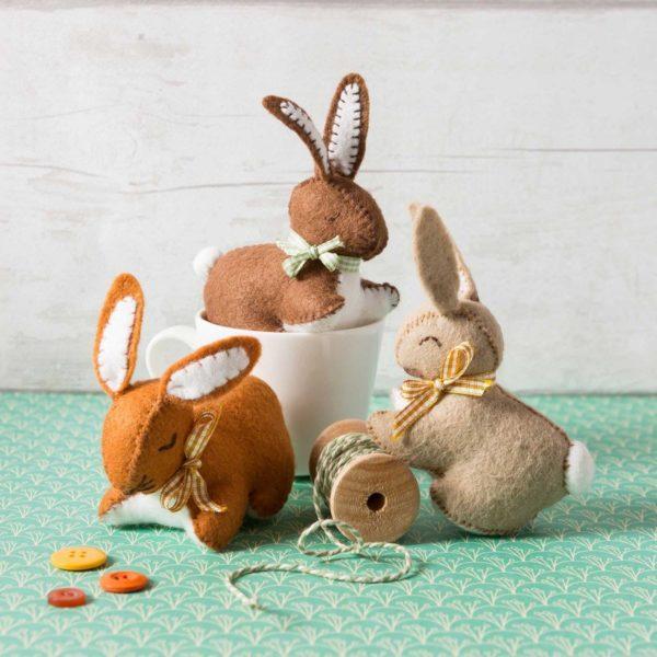 Filzbastelset für drei süße Kaninchen   über Zur Lila Pampelmuse