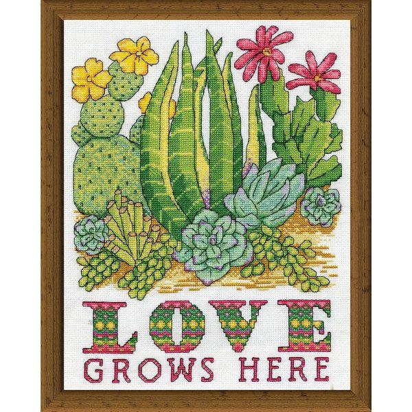 """Spruch """"Love grows here"""" mit Kakteen und Sukkulenten sticken"""
