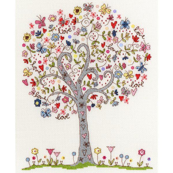 Baum mit vielen Herzen im Kreuzstich sticken | von Bothy Threads über Zur Lila Pampelmuse