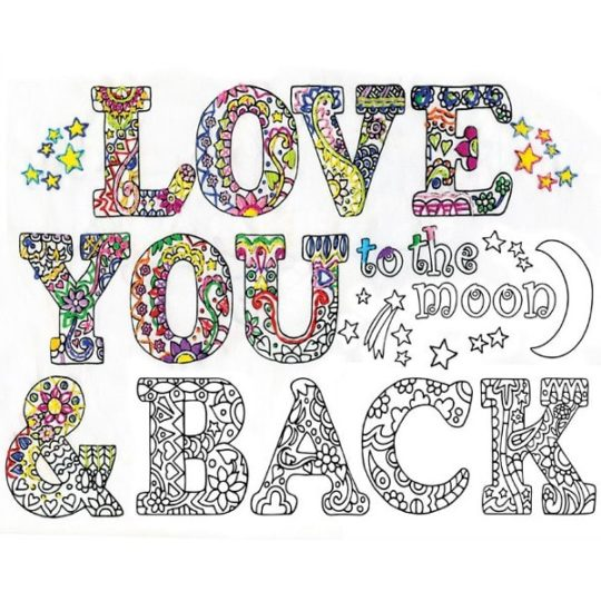 Süßen Spruch sticken: Love you to the moon and back. Über Zur Lila Pampelmuse