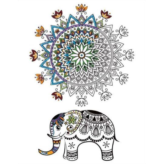 Mandala mit Elefant sticken: Bedruckten Stoff aussticken | über Zur Lila Pampelmuse