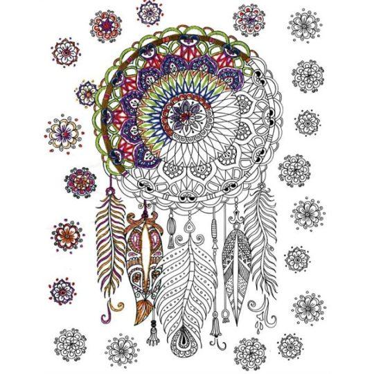 Traumfänger sticken mit Blumen, Federn und Mandala | über Zur Lila Pampelmuse