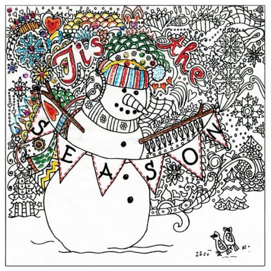 Weihnachtlichen Schneemann sticken: Stickmuster aussticken | über Zur Lila Pampelmuse