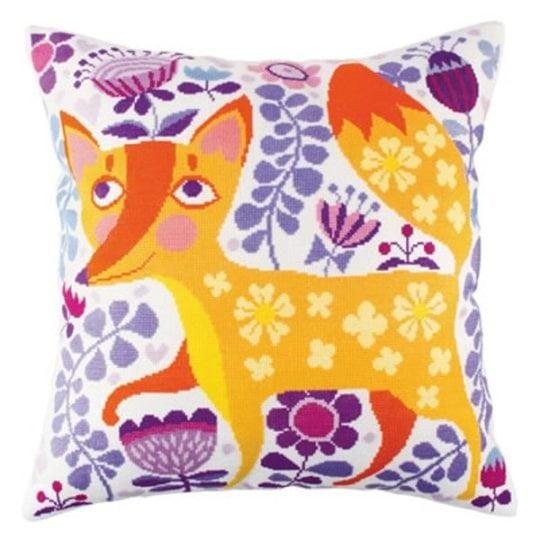 Süßen Fuchs und Retro-Blumen auf ein Kissen sticken mit Kreuzstich