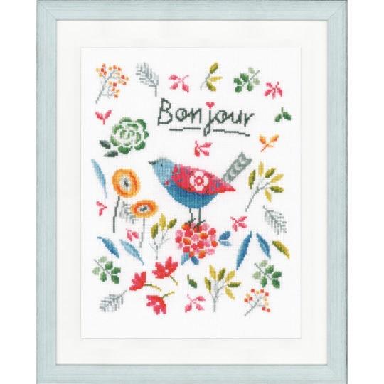 Blumen & Vogel mit Kreuzstich sticken - mit Alphabet! Das Wort ist individualisierbar