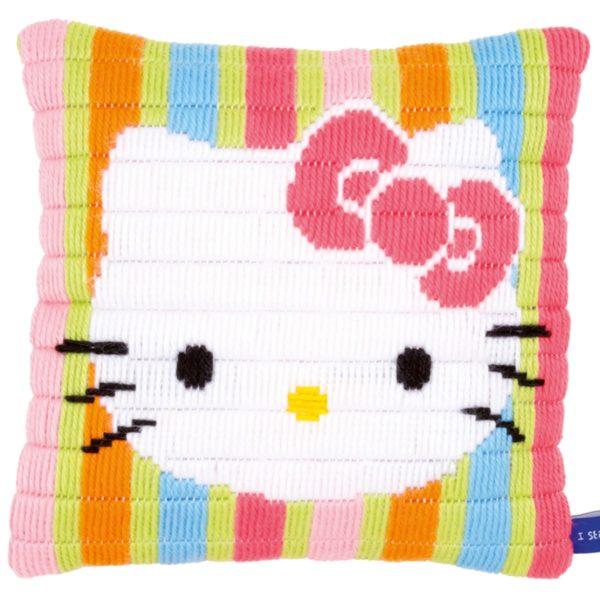 Kreuzstich Baby: Hello Kitty Kissen mit Streifen im Spannstich sticken | über Zur Lila Pampelmuse