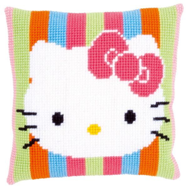 Kreuzstich Baby: Hello Kitty Kissen mit Streifen sticken | über Zur Lila Pampelmuse