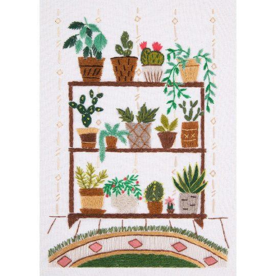 Grünpflanzen sticken im Regal: Stickpackung über Zur Lila Pampelmuse