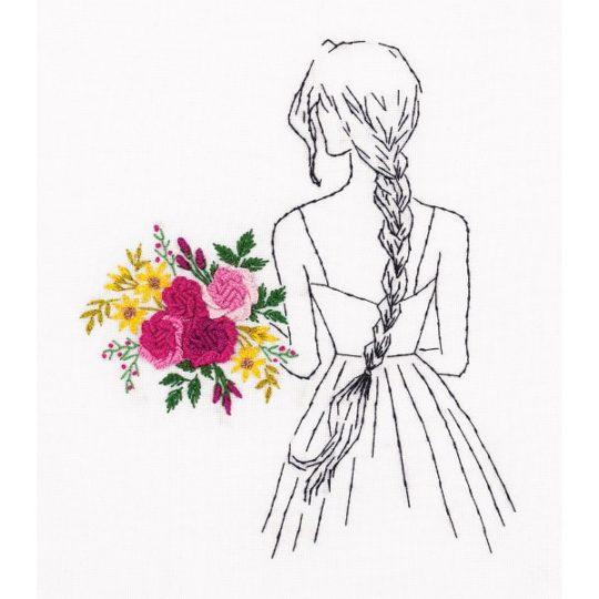 Frau mit buntem Blumenstrauß sticken | über Zur Lila Pampelmuse