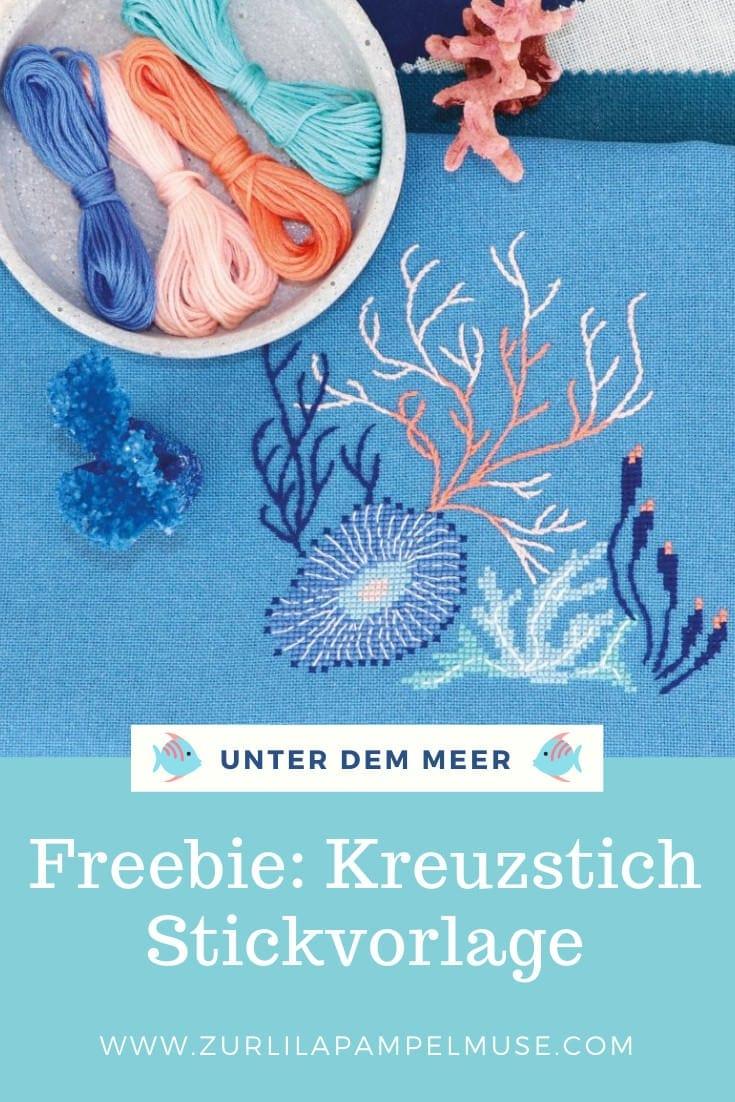 Stickmuster Kreuzstich kostenlose mit Meer und Korallen über Zur Lila Pampelmuse