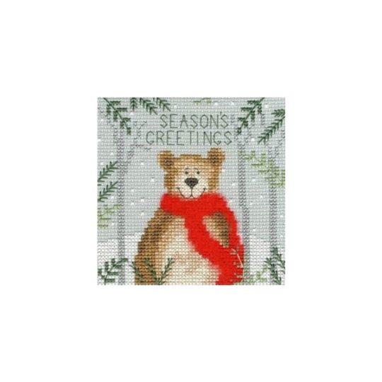Weihnachtskarte Bär Kreuzstich-Stickset | über Zur Lila Pampelmuse