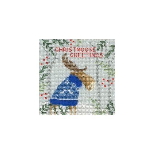 Weihnachtskarte Elch Kreuzstich-Stickset | über Zur Lila Pampelmuse