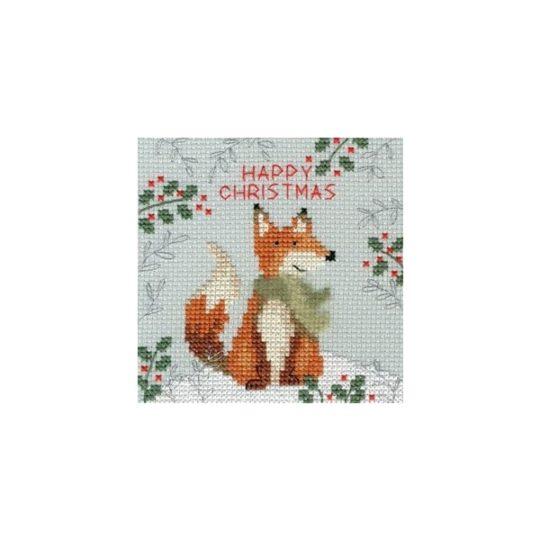 Weihnachtskarte Fuchs Kreuzstich-Stickpackung | über Zur Lila Pampelmuse