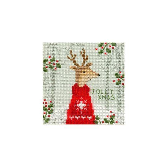Weihnachtskarte Hirsch Kreuzstich-Stickpackung | über Zur Lila Pampelmuse
