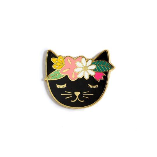 Needleminder bzw. Nadelmagnet Katze mit Blumen - fürs Sticken | über Zur Lila Pampelmuse
