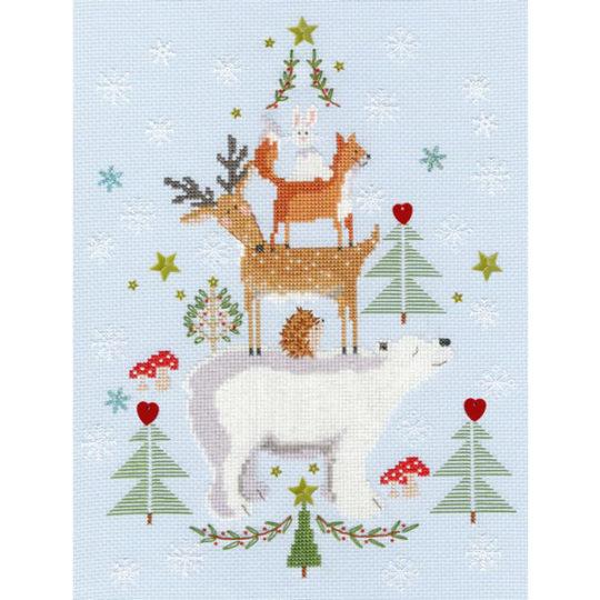 Niedliche Tierpyramide mit Schneeflocken zu Weihnachten sticken | Kreuzstich Stickpackung über Zur Lila Pampelmuse