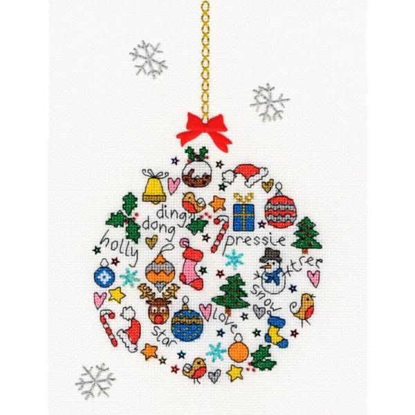 Bunte Weihnachtskugel sticken mit vielen Motiven | Kreuzstich Stickpackung über Zur Lila Pampelmuse