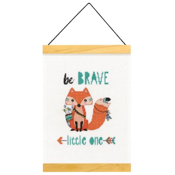 """Niedlichen Fuchs sticken mit Spruch """"Be brave little one"""" als Banner   über Zur Lila Pampelmuse"""