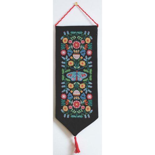 Bunte Folk-Art Blumen sticken als Banner | Kreuzstich Stickpackung über Zur Lila Pampelmuse