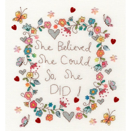 "Spruch ""she believed she could"" sticken mit Blumen 