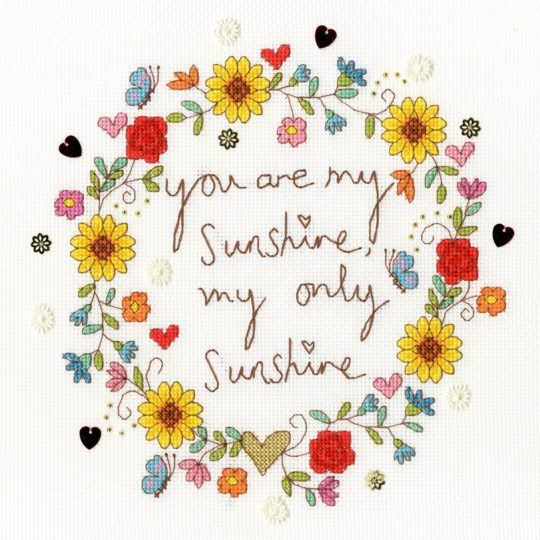 "Spruch ""you are my sunshine"" sticken mit Blumen 