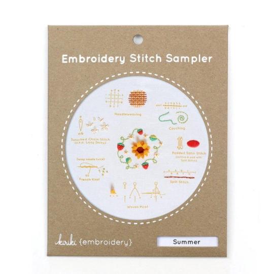 Modernes Mustertuch für Sonnenblume, Erdbeeren und Gänseblümchen | Stickpackung über Zur Lila Pampelmuse