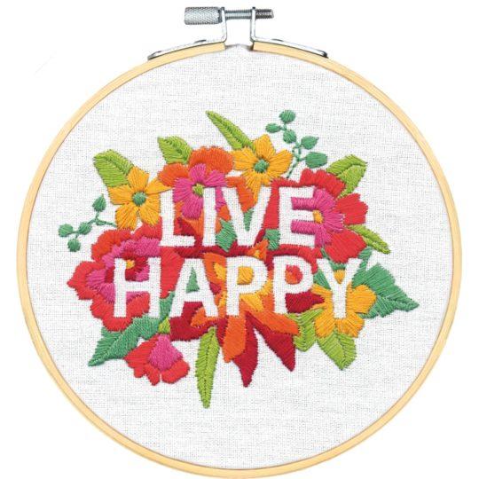Bunte Blumen mit dem Spruch Live Happy sticken | Stickpackung über Zur Lila Pampelmuse